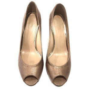 Stuart Weitzman Rose Gold Linen Peep Toe Heels